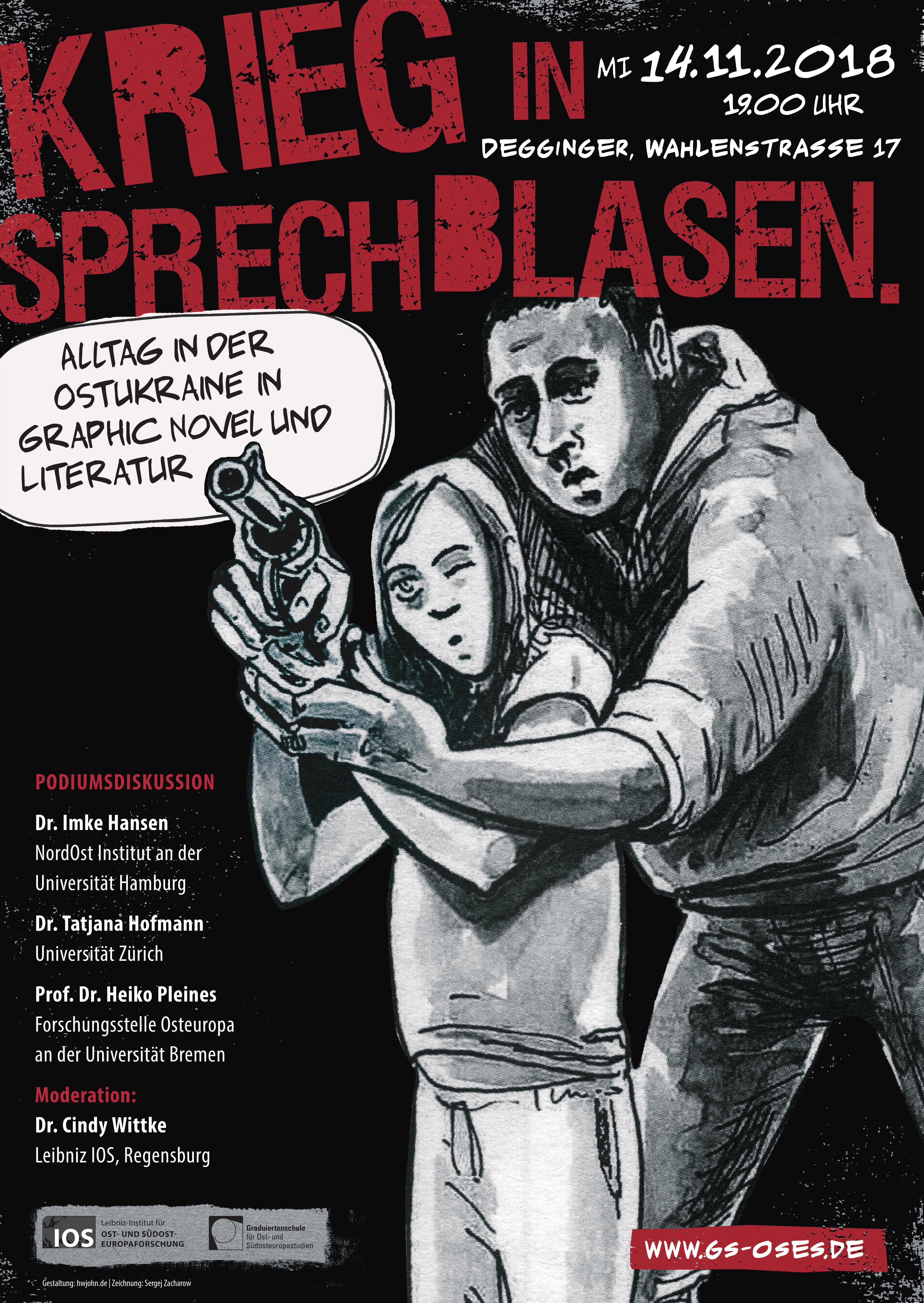 """Plakat zur Veranstaltung """"Krieg in Sprechblasen"""""""