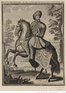 Portrait de Mehemet Reza Bey (Beg), à cheval, galopant [estampe] Éditeur : A Paris chez G. Landry, rue S.t Jacques à S.t Landry (Image disponible du Gallica http://gallica.bnf.fr/ark:/12148/btv1b84082148/