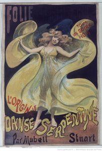 Folies-Bergère, L'originale danse serpentine par Mabel Stuart ; affiche d'Alfred Choubrac, 1890