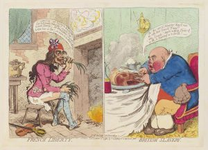 """""""French Liberty, British Slavery"""" by James Gillray, published by Hannah Humphrey, hand-coloured etching, published 21 December 1792, © National Portrait Gallery, London."""