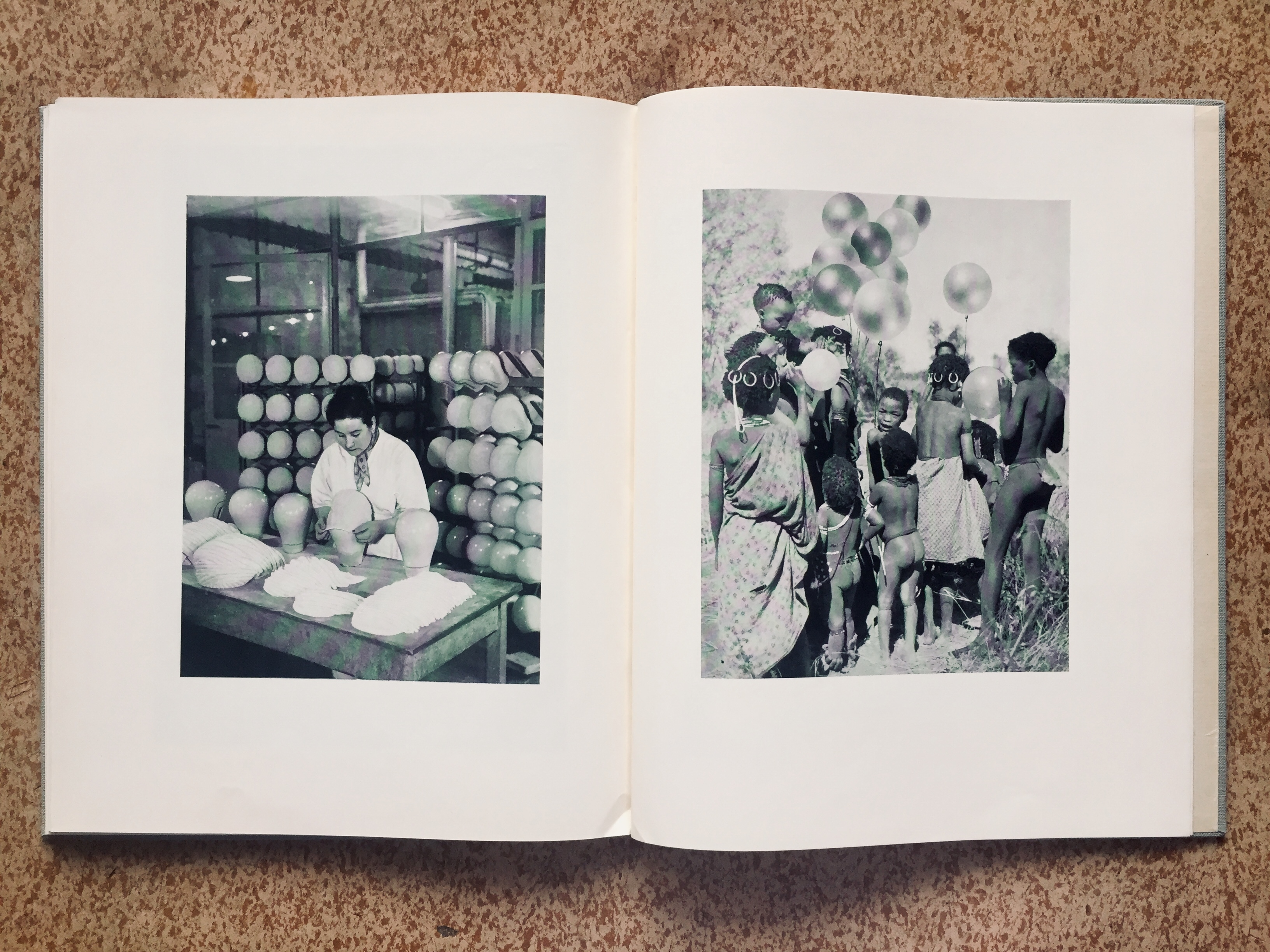 Festschrift fotos of woman worker moulding bath caps and children with balloons, 1957