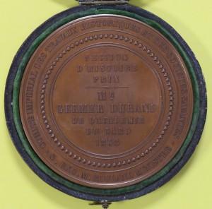 Médaille accordée par le Comité des travaux historiques à Eugène Germer-Durand pour son Dictionnaire topographique du Gard (1868)  © Bruno Delmas