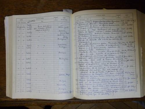 Bibliothèque des Archives nationales. Registre des entrées