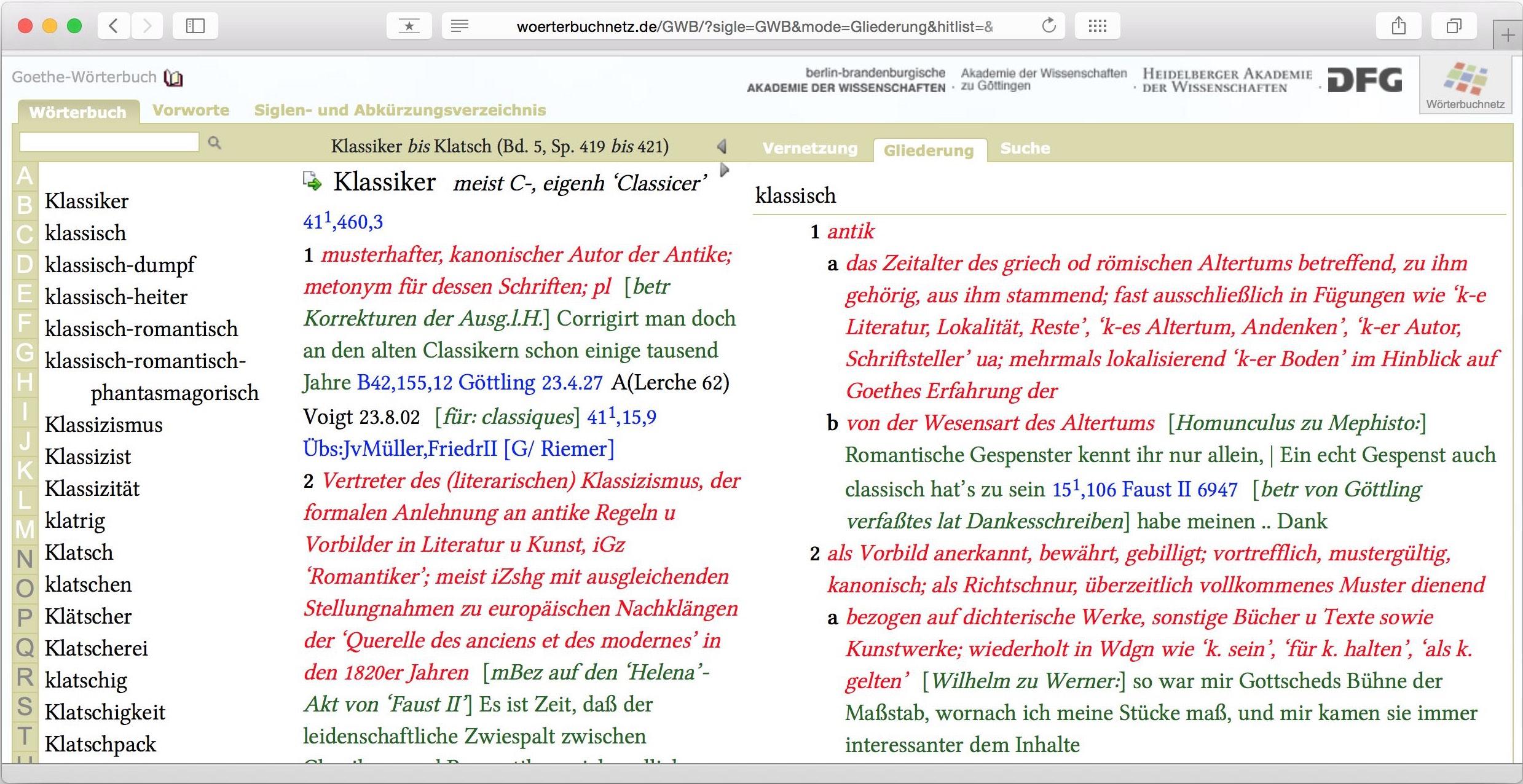 Goethe Wörterbuch: Klassiker y klassisch