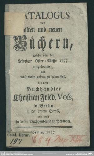 Catálogo de la Ostermesse de Leipzig