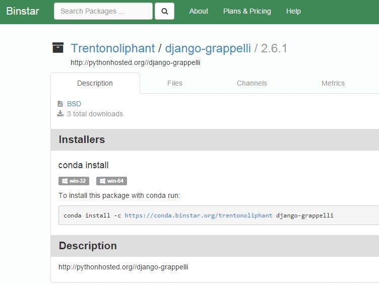 Une des versions du package Grappelli sur binstar.org