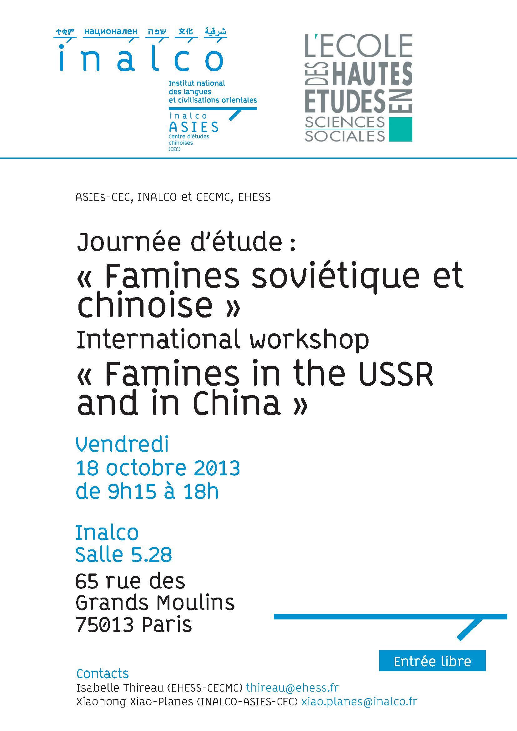 """Journée d'étude : """" Famines soviétique et chinoise """""""