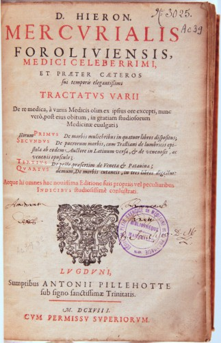 Mercuriale, Girolamo, Tractatus varii de re medica, Lyon, Pillehotte, 1618. Deuxième partie : De venenis opusculum (Bibliothèque de Médecine-Odontologie Timone, Res 3025)