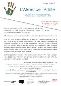 Exposition L'Atelier de l'artiste – 2 au 6 décembre – Café Expo (Villetaneuse)