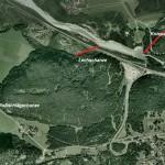 Die Schanzen der Lechsperre. Erstellt mit Google Earth