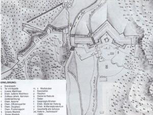 Plan des Scharnitzpasses aus: Frieda Bauer: Die Kämpfe um die Pässe Strub, Scharnitz und Leutasch 1805. Wien 1987. Um oder nach 1711, vermutl von Georg Anton Gumpp.