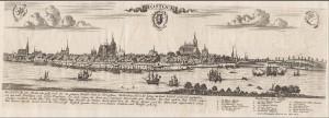 Kommentierte Ansicht Rostocks ohne Zeit. Produzent: Gabriel Bodenehr. Quelle: Württembergische Landesbibliothek
