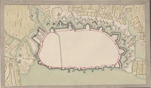 """""""Plan de Rostock"""", ohne Zeit und Autor. Quelle: Württembergische Landesbibliothek."""