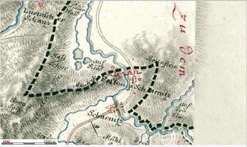 Porta Claudia auf einer Karte von 1804