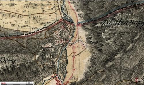 """Porta Claudia und """"Alte Schanze"""" auf einer Karte von 1805"""