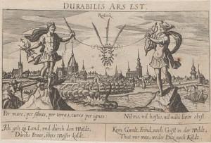 Kommentierte Darstellung Rostocks, o.Z. Die zahlreichen Symbole warten auf eine Interpretation. Quelle: Württembergische Landesbibliothek