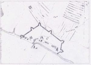 Planung der Umwallung in der Ortschronik. Vermutlich um 1630.