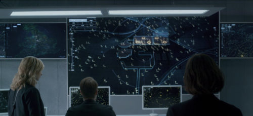 "Screen caption of the Black Mirror episode ""Hated in the nation"" figuring protagonists watching a screen displaying the bee-drones targets"