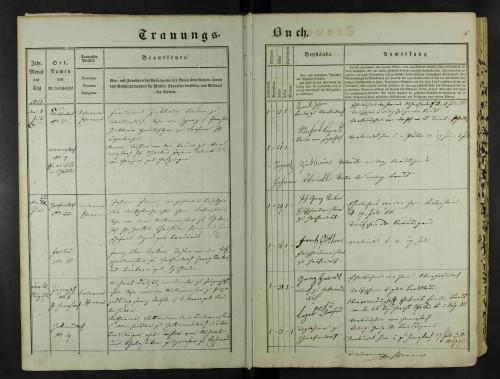 Trauungsbuch mit vorgedruckten Rubriken aus dem Jahr 1851, Pfarre Ober-Grafendorf. Diözesanarchiv St. Pölten.