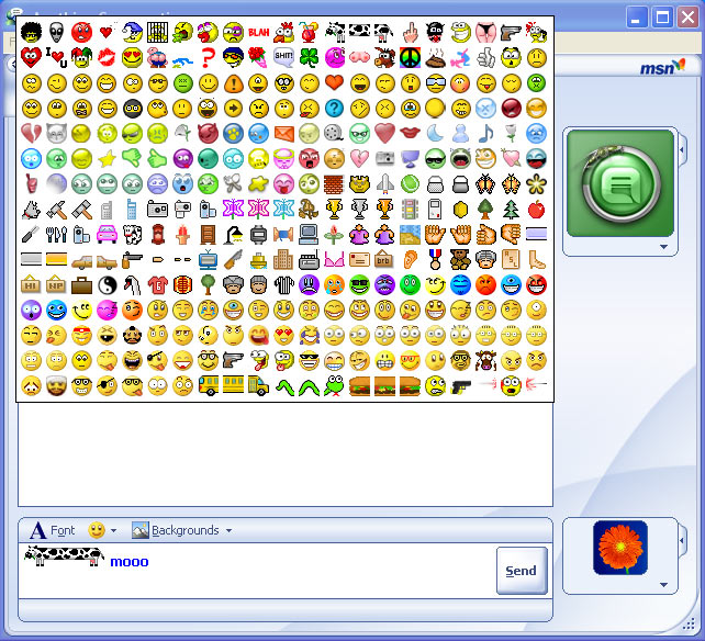 Catalogue d'émoticons MSN