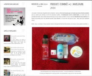 Article Produits terminés 2 mars avril 2014, blog Olly Nolera, capture d'écran 14 mai 2014