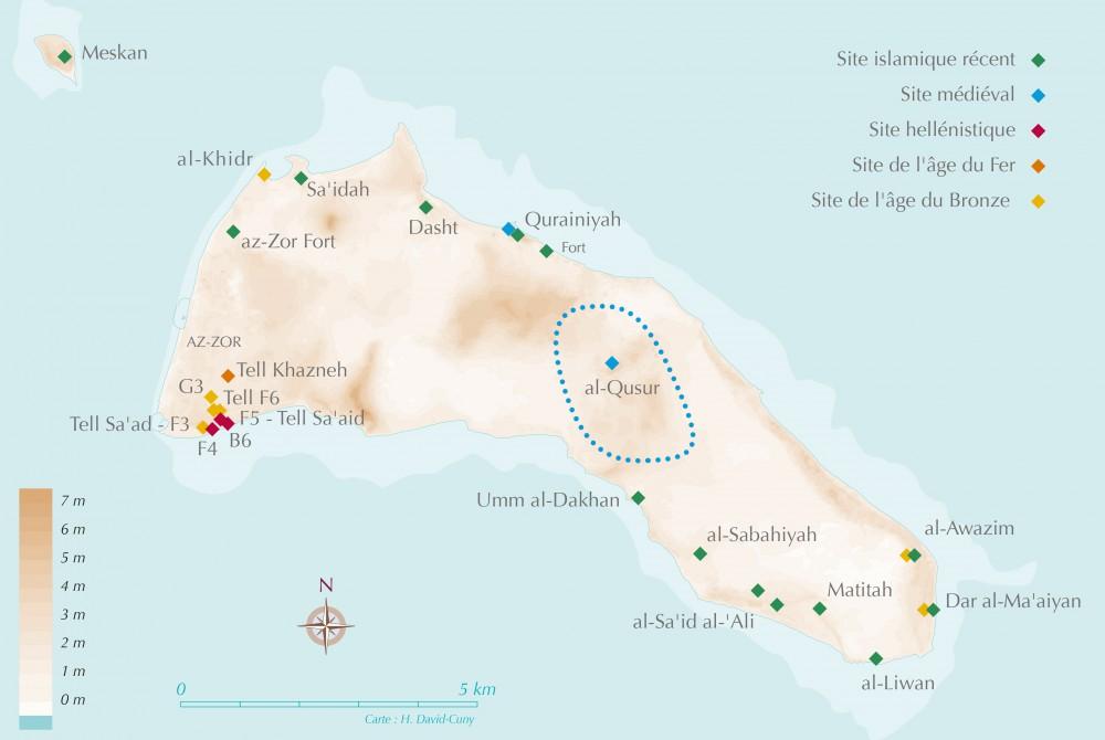 Fig. 1 : carte des sites archéologiques de l'île de Faïlaka (carte H. David-Cuny 2010-2015, d'après fond topographique KSAM)