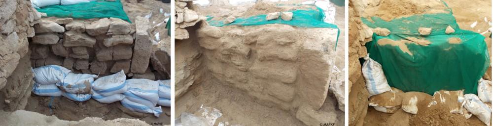 Fig. 3 : exemple de consolidation et de protection réversible d'une partie du rempart nord menaçant de s'effondrer (MAFKF 2014)