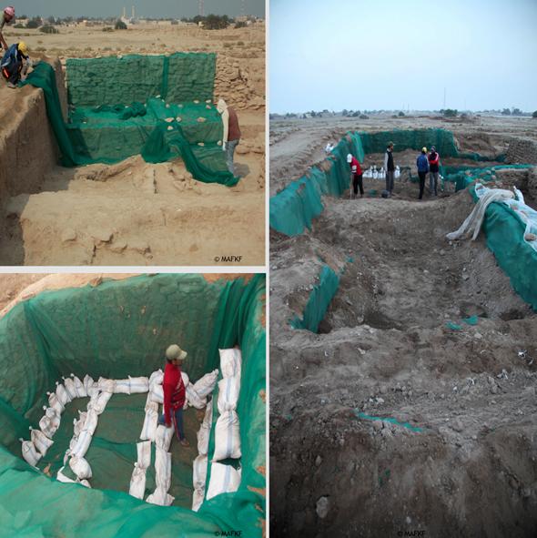 Fig. 4 : exemple des mesures de protection mises en place entre deux campagnes dans les secteurs fouillés : pose de géotextile, renforcement avec des sacs de sable et remplissage avec de la terre (MAFKF 2014)