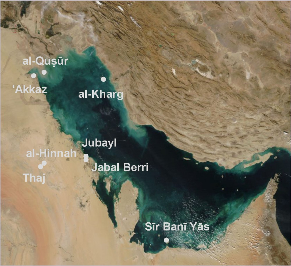 Fig. 5 : les sites chrétiens du golfe Arabo-Persique (carte J. Bonnéric 2015, d'après http://commons.wikimedia.org/wiki/File:PersianGulf_vue_satellite_du_golfe_persique.jpg)