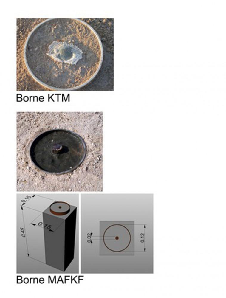 Fig. 3 : une borne du système KTM et une borne de la MAFKF qui matérialisent les points fixes (photo S. Baier, MAFKF 2014)