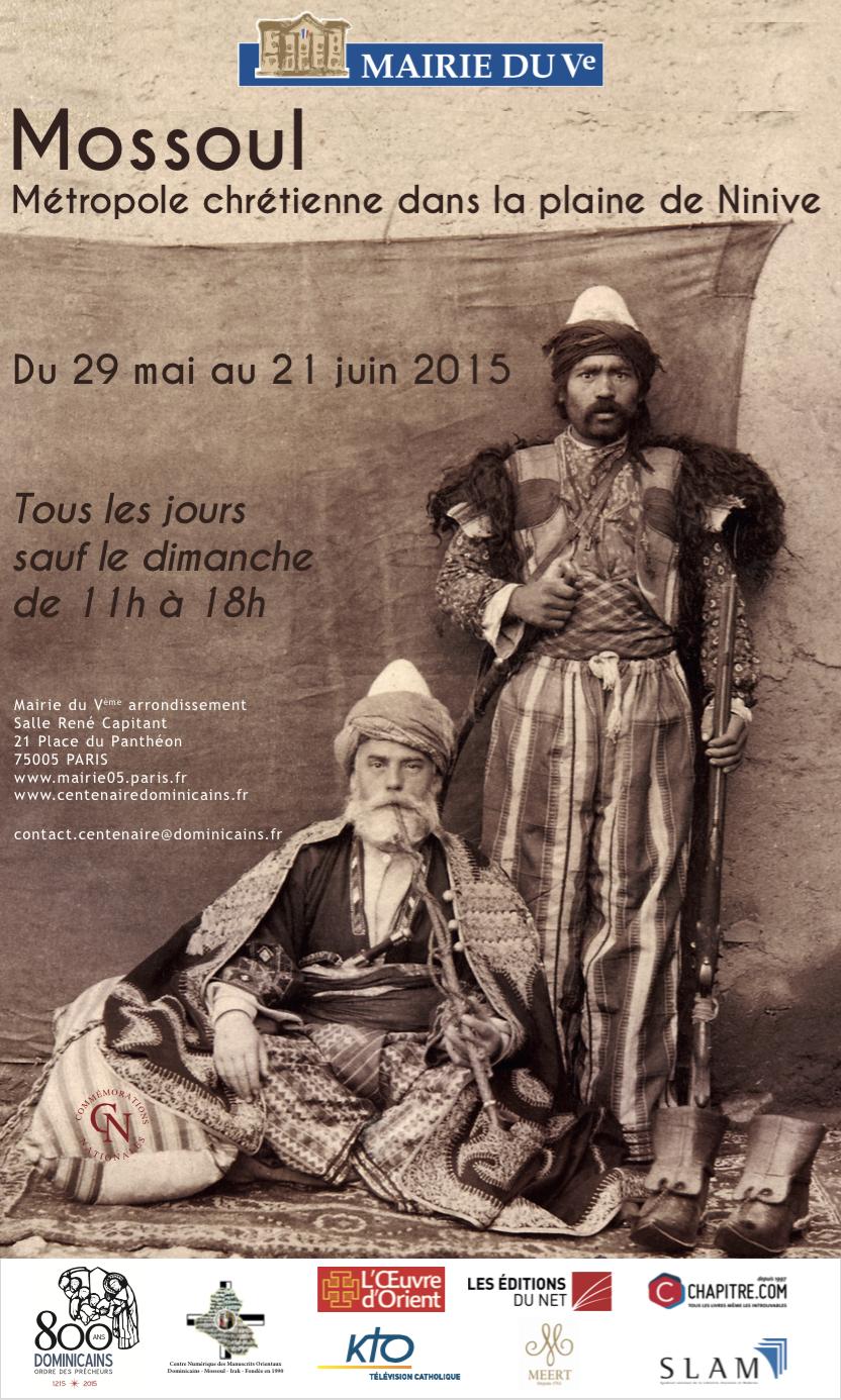 Fig. 2 : affiche de l'exposition « Mossoul, métropole chrétienne dans la plaine de Ninive » à la mairie du Ve arrondissement de Paris