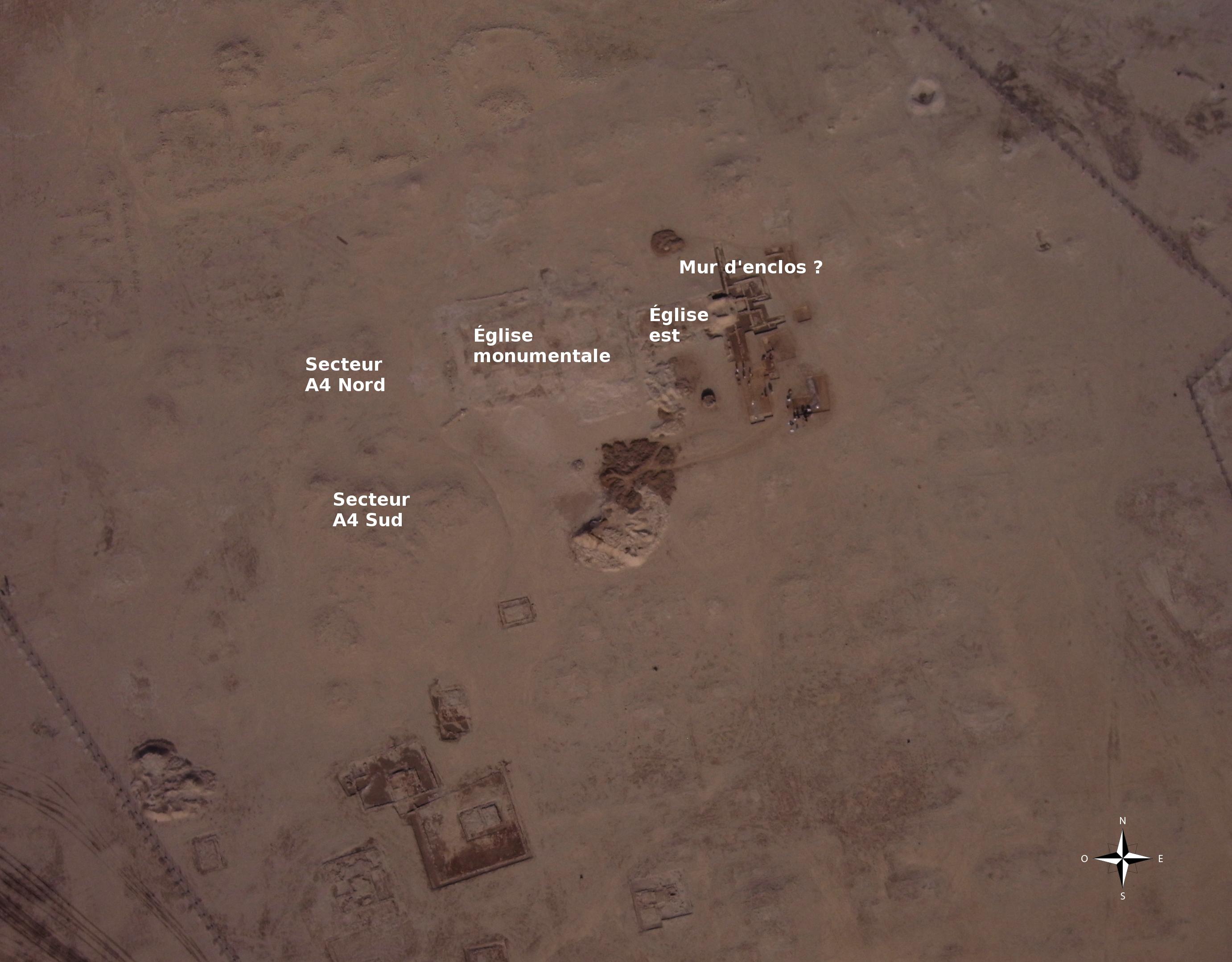 Fig. 1 : secteurs de fouille de la campagne 2015 de la MAFKF sur le site d'al-Quṣūr (photo Y. Guichard, DAM 2009)