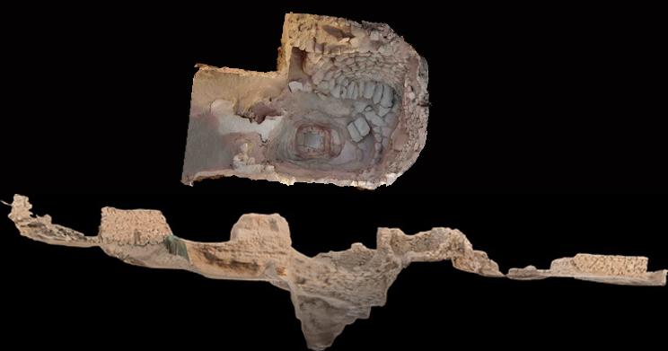 Fig. 2 : Relevé photogrammétrique (orthophoto et coupe) du puits dégagé dans les années 60 par la Danish Archaeological Expedition to Kuwait après nettoyage par la MAFKF en 2016 et avant consolidation et rebouchage (E. Devaux, 2016).