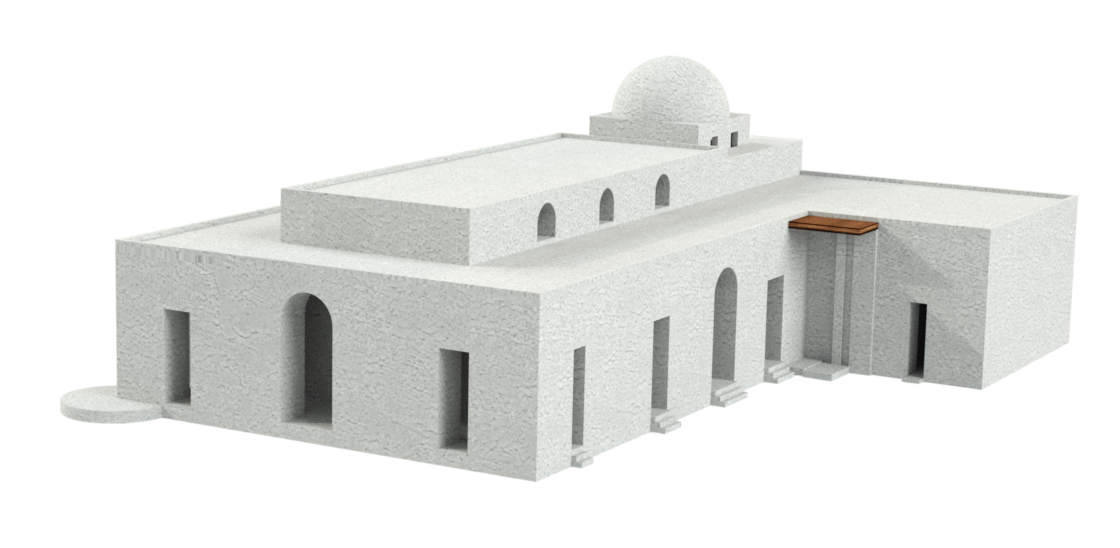 Fig. 3 : Restitution 3D avec rendu de l'église d'al-Qusur. (C. Raad © MAFKF).