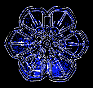 Early computer processed photo (1990s): a colorized version of one of Wilson Bentley's microscopic photographs of snow flakes. Early experimental digital photography by Rick Doble. GNU Free Documentation License, Version 1.2