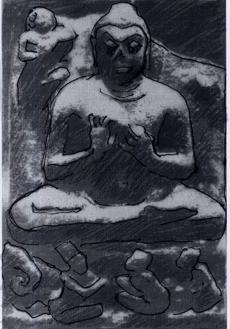 Fig. 1 Epoque Gupta, prov. Sārnāth, Ve s., Los Angeles County Museum of Art. Sur le socle, de gauche à droite : l'éléphant, Indra, Pañcaśikha tenant son luth et un dévot (le donateur ?). (d'après J.C. Huntington 2000: fig. 1)