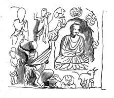 Fig. 10 : prov. Sikri, musée de Lahore, Ht 33cm. (d'après Kurita, 2003, fig. 332).