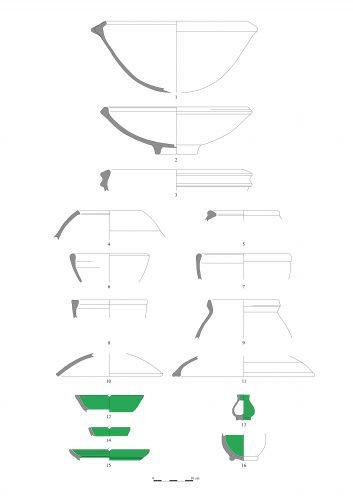 Figure 7 : Mobilier céramique de Tinouaïnane n'Ufella. Céramique commune : marmites (1, 4 et 5), vaisselle de service (2, 6 à 8), pot pour la préparation de l'huile d'argan (3), petite jarre (9), couvercles (10 et 11) ; céramique fine : petits plats (12, 14 et 15), flacon (13) et forme fermée à pied annulaire (16).