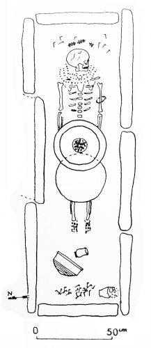 Figure 2. Relevé en plan du squelette et du matériel découvert dans la sépulture A2 à Draria el-Achour.