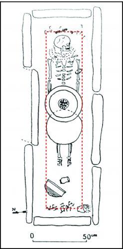 Contours hypothétiques d'un contenant ou coffrage en bois qui protégeait le défunt de la sépulture A2