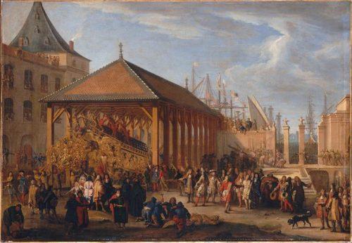 Figure 6. Jean-Baptiste de La Rose (attrib.), Le Marquis de Seignelay et le duc de Vivonne visitant la « Galère Réale » en construction. Versailles, Musée national des châteaux de Versailles et de Trianon, inv . MV5457.