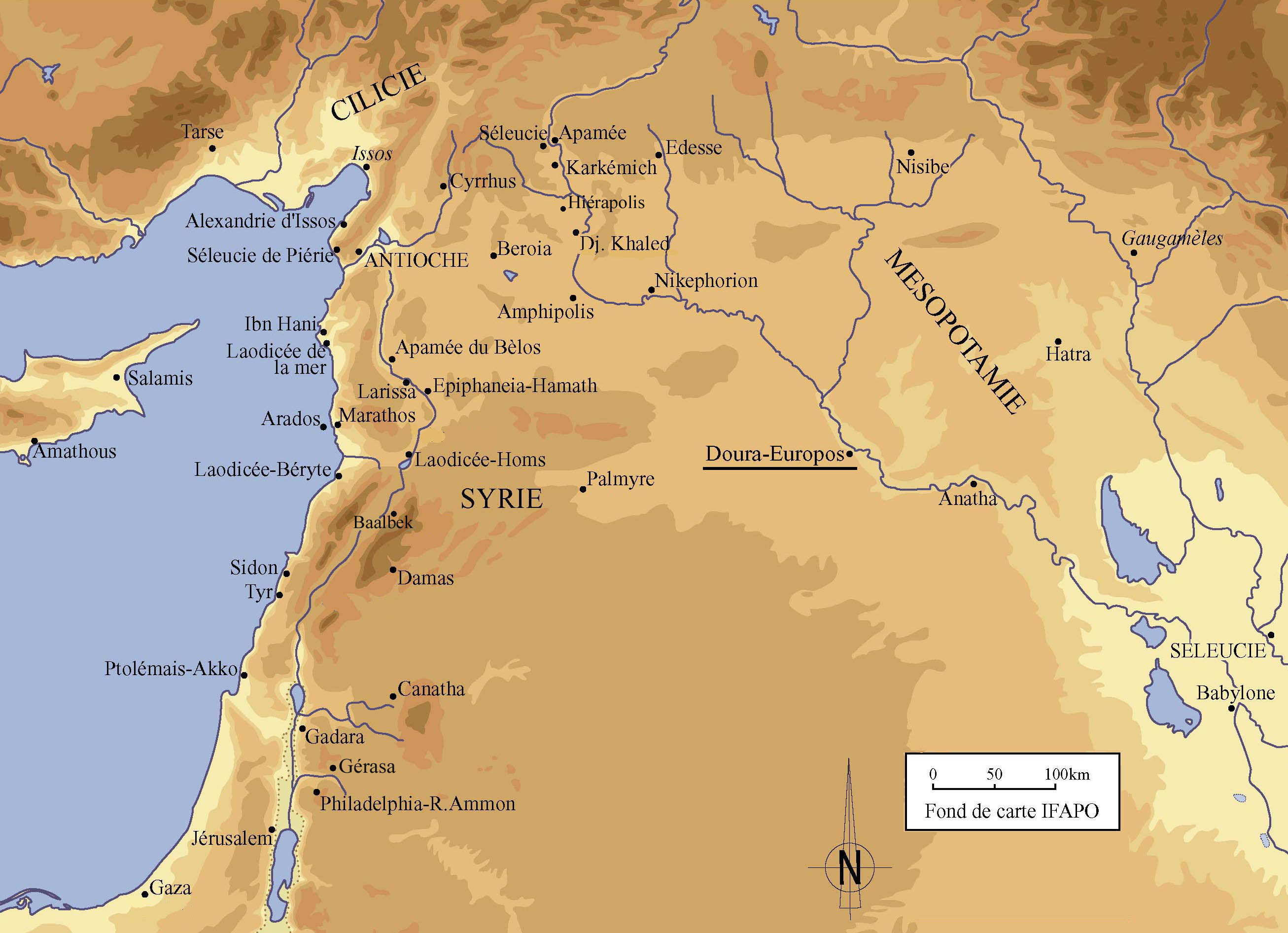 Fig. 1. Carte de l'Orient gréco-romain. D'après un fond de carte de l'IFAPO.