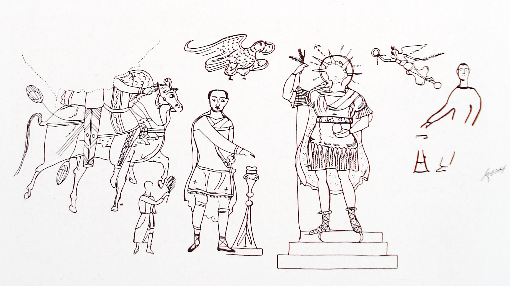 Fig. 3. Dipinto représentant Iarhibôl (fac-similé). Sanctuaire d'Azzanathkona, Doura-Europos. P.R. V, pl. XXVI, 3.