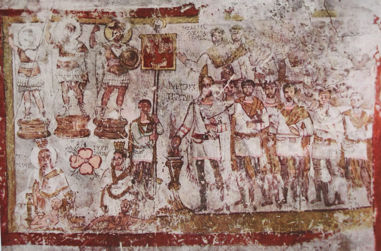 Fig. 4. Peinture du sacrifice du tribun Terentius. Sanctuaire de Bêl, Doura-Europos. Cumont 1926, pl. L.