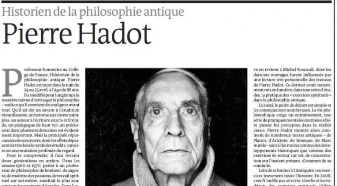 Mercè Prats sur Pierre Hadot – Le Monde des livres