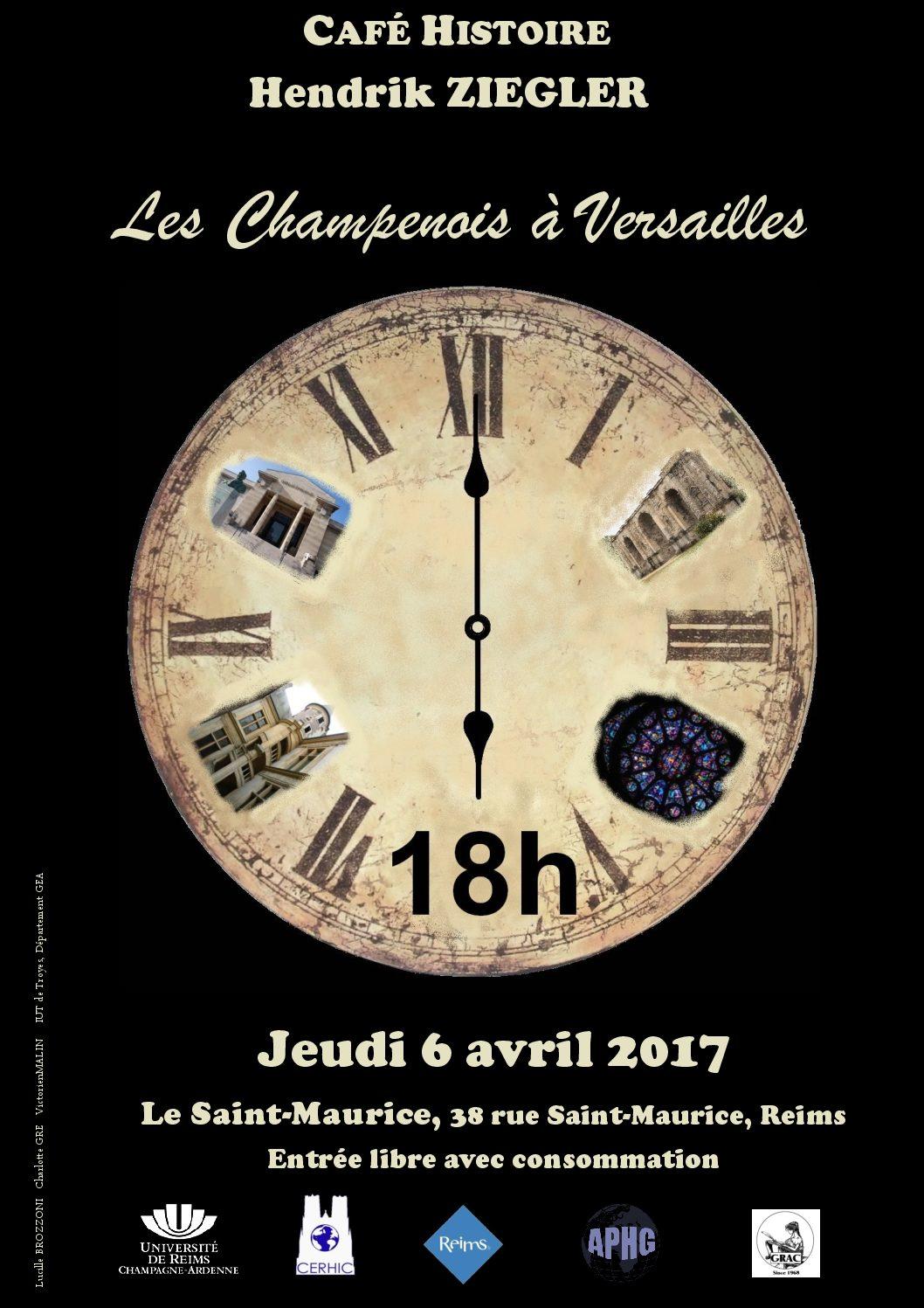 Prochain café histoire, «Les Champenois à Versailles», 6 avril