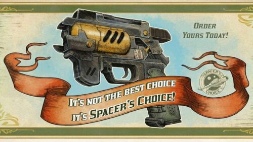The Outer Worlds - In game ad for the fictional Spacer's Choice corporation