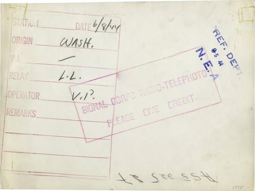 Radiophoto Capa, June 8, 1944 (verso), courtesy Bernard Lebrun