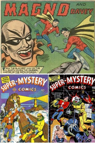 Magno and Davey vs The Clown, Super-Mystery Comics #5, December 1940 / Super-Mystery Comics #v2#1, April 1941 / Super-Mystery Comics #v3#5, July 1943