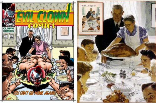 Evil Clown Comics #4, October 1988 / Freedom from want, Norman, Rockwell, Saturday Evening Post, March 6, 1943